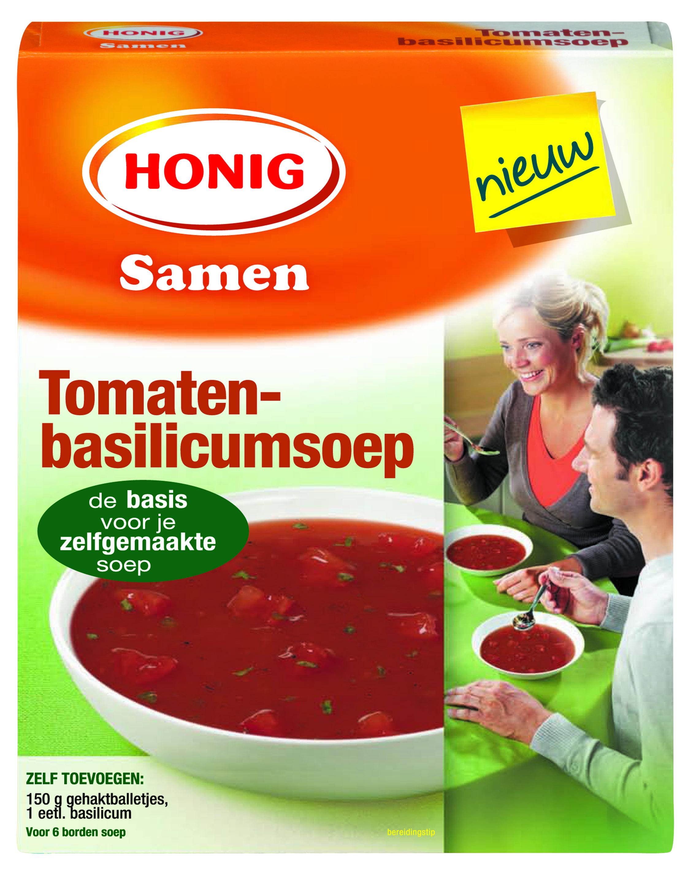 Honig Tomaten-basilicumsoep is een heerlijke, frisse tomatensoep. De combinatie van tomaat met een vleugje basilicum geeft je zelfgemaakte soep een smaak die vrijwel iedereen lekker vindt.