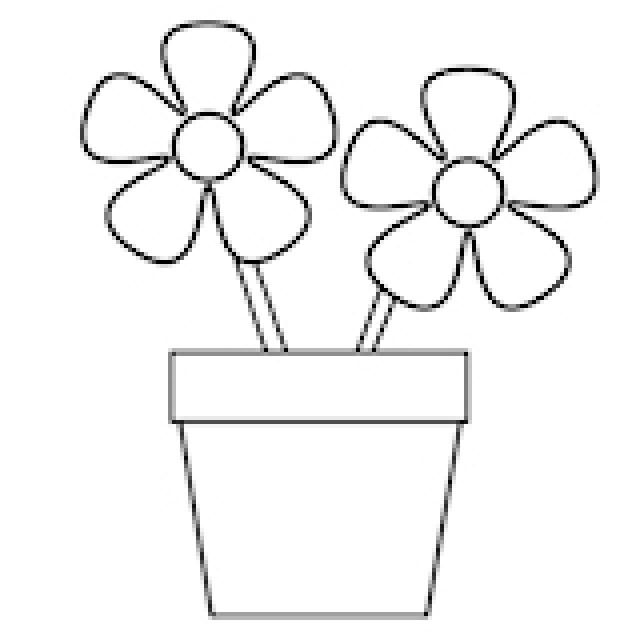 Flower Pictures To Color Flowers In A Pot