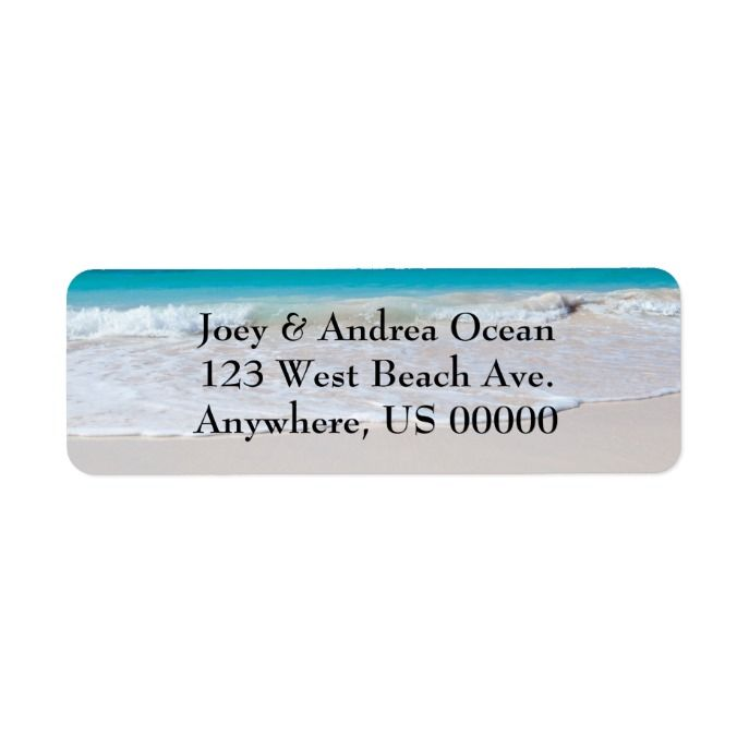 Ocean water and beach sand custom return address labels with black