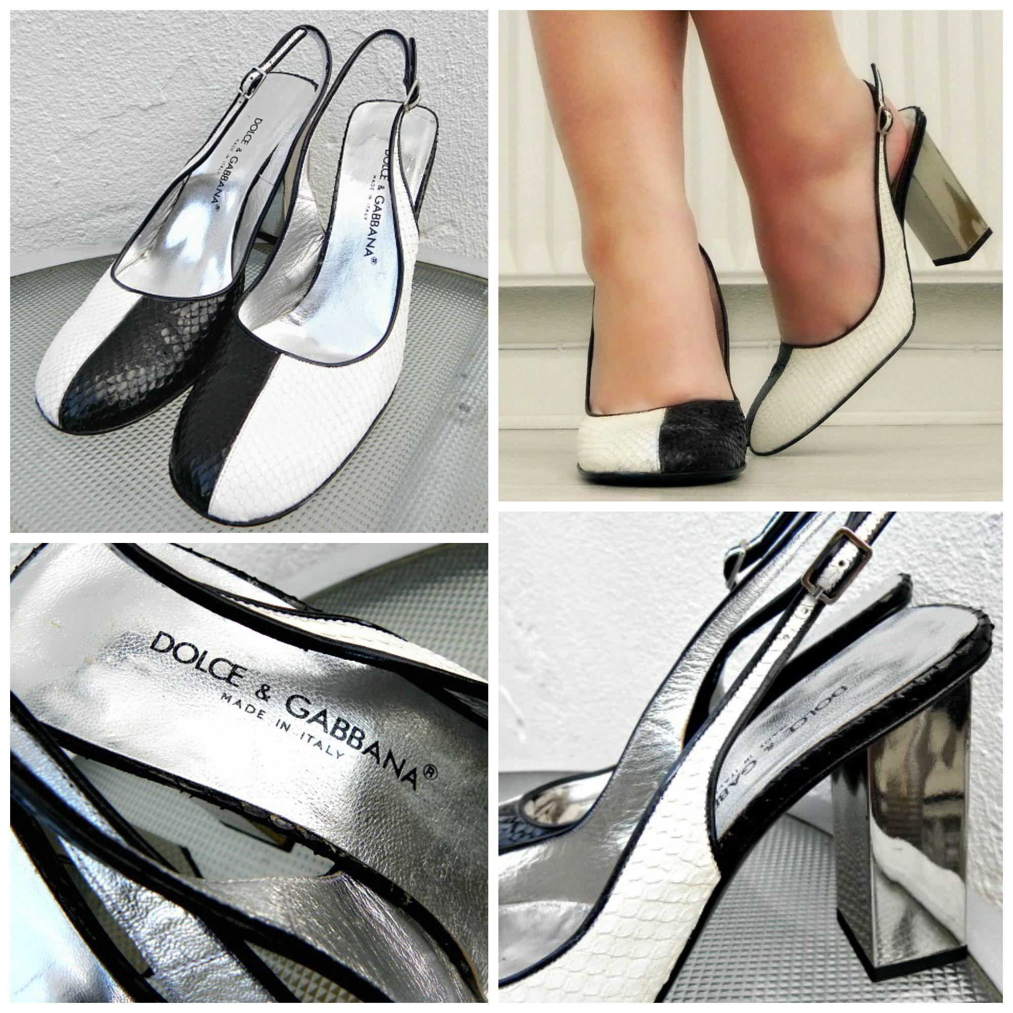 Vintage 90s Dolce & Gabbana Black & White snakeskin shoes with silver mirror block heel www.desdemonastyle.wordpress.com