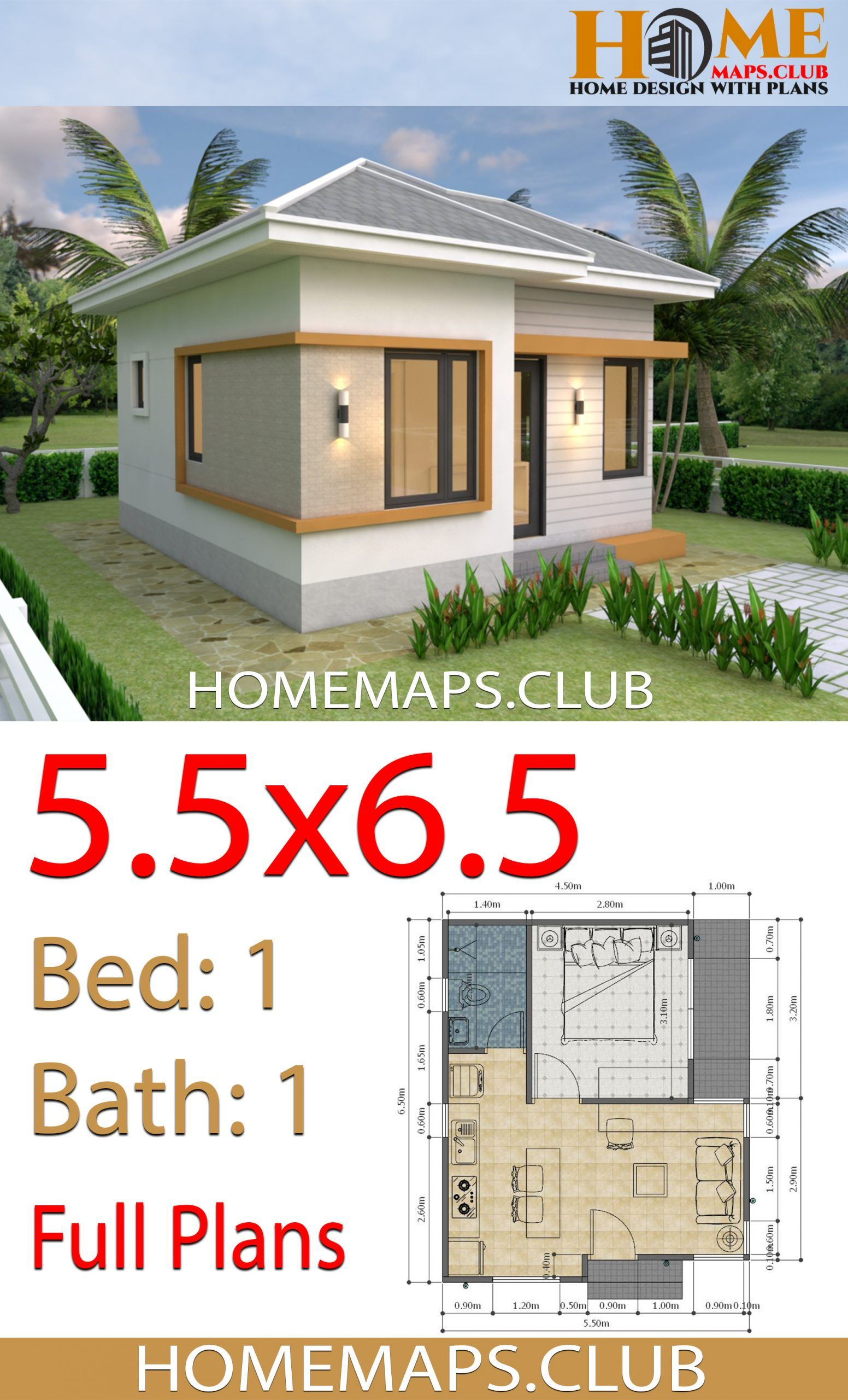 Small House Plans 5 5x6 5 With One Bedroom Hip Roof Small House Design Plans House Plans Small House Plans