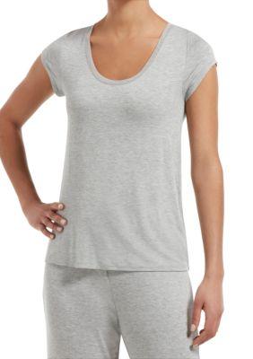 HUE Womens Sleepwell with Temptech Short Sleeve Pajama Sleep Top