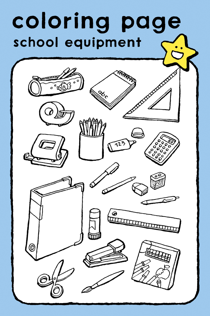 School Equipment Coloring Pages Drawing Picture Kids Schools Objects Schoolgerief Kleurpla School Equipment Kids School Supplies School Coloring Pages [ 1102 x 735 Pixel ]