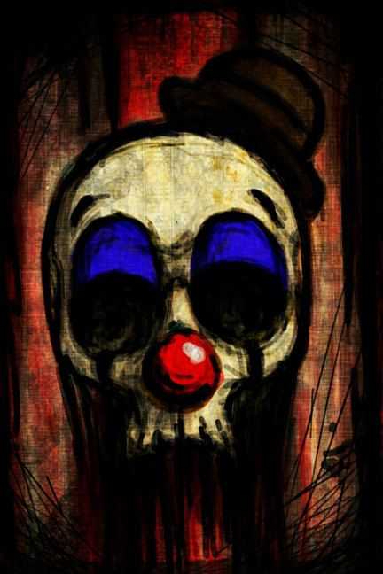 Bozo Clown Skull stretched canvas print by ShayneoftheDead on Etsy, $15.00
