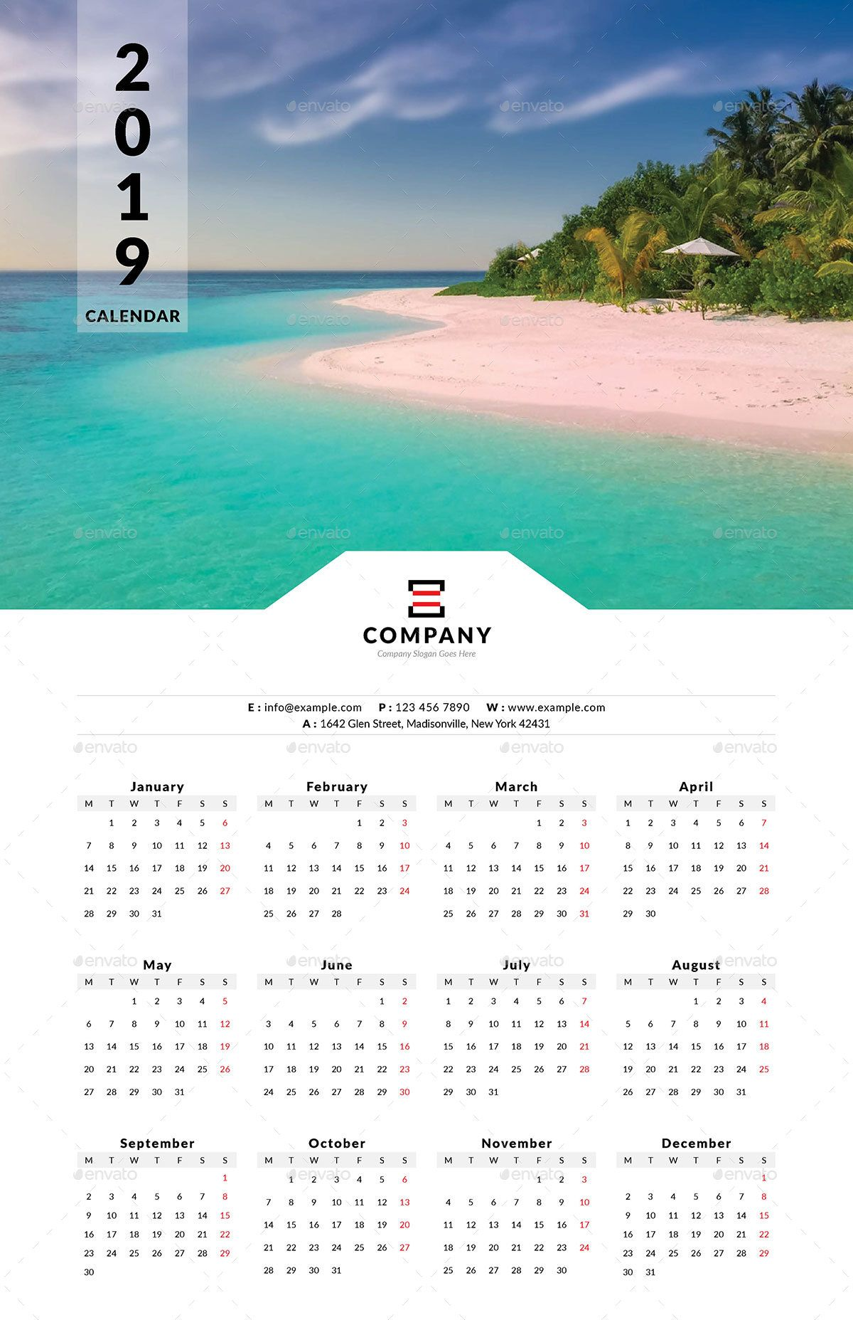 One Calendar.2019 One Page Wall Calendar Page Calendar Wall Business Icons