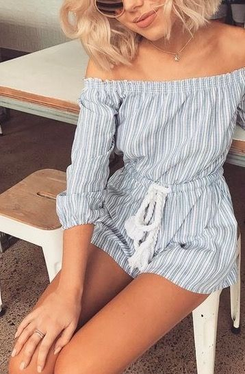 This off the shoulder jumpsuit is just the cutest