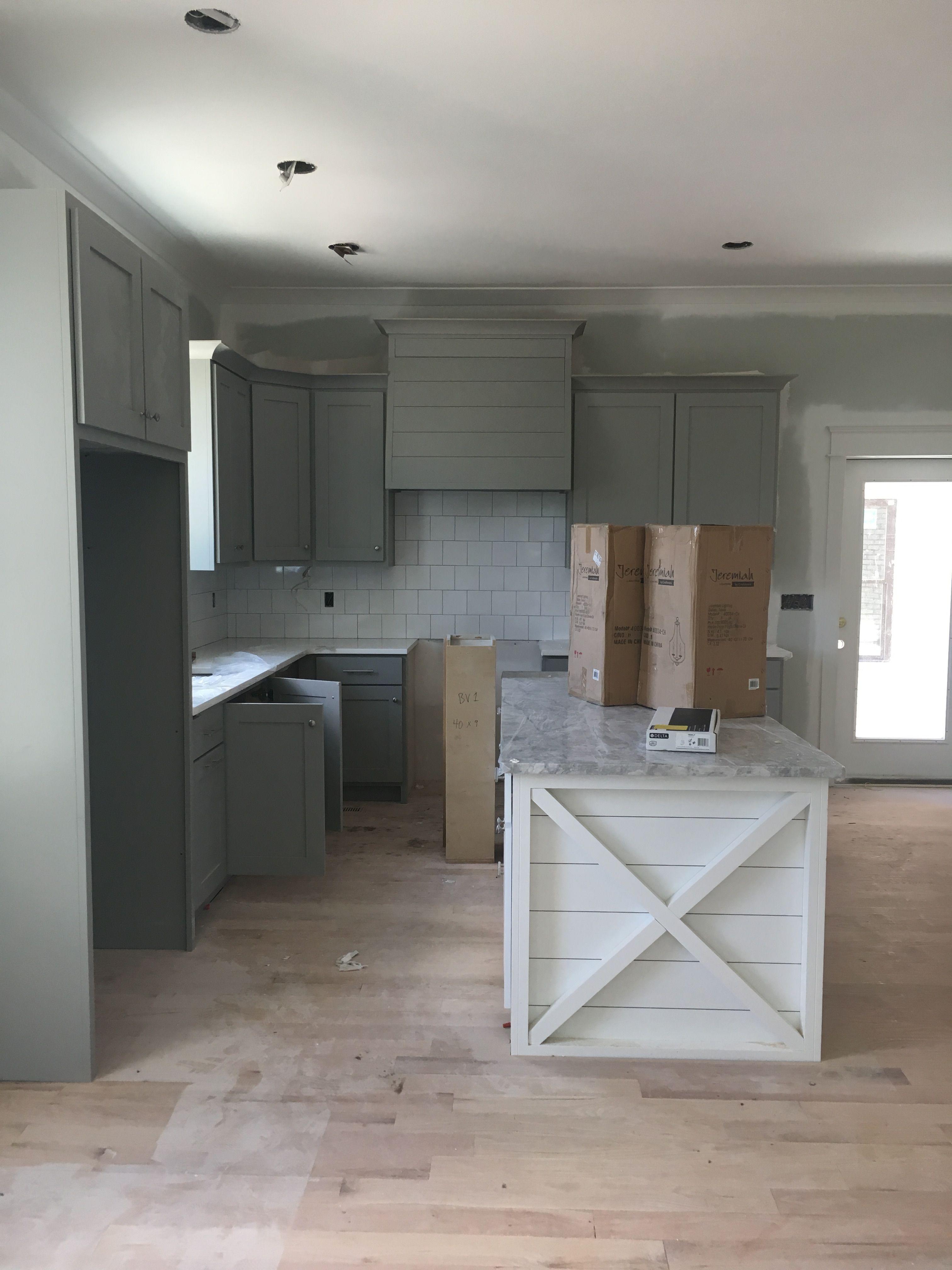 Gray Kitchen Cabinets White Shiplap Island Modern Farmhouse Kitchen Square Backsplash Grey Kitchen Cabinets Grey Kitchen Walls Kitchen Cabinet Design