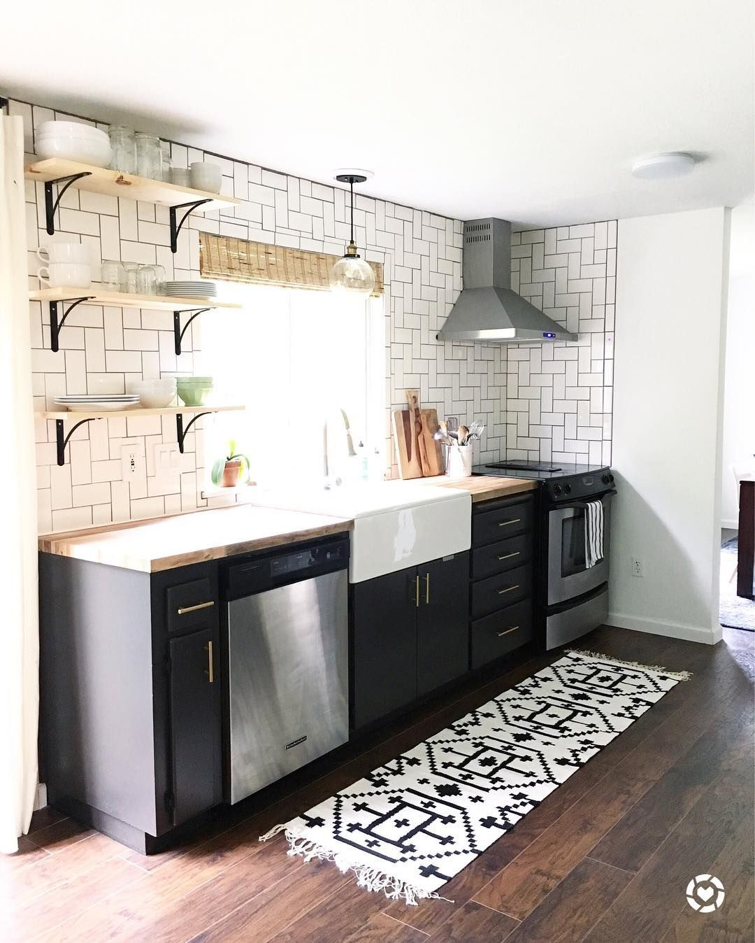 Dark Grey Lower Cabinets Open Shelves Straight Herringbone Tile Backsplash Kitchen Remodel Home Decor Kitchen Dining