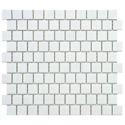 Merola Tile Metro Square Offset Matte White 10 3 4 In X 11 3 4 In X 5 Mm Porcelain Mosaic Tile 8 97 Sq Ft Case Fxlm1omw The Home Depot Porcelain Mosaic Tile Porcelain Mosaic Mosaic Flooring