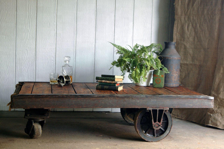 Vintage industrial cart coffee table 95000 via etsy for the vintage industrial cart coffee table 95000 via etsy geotapseo Images