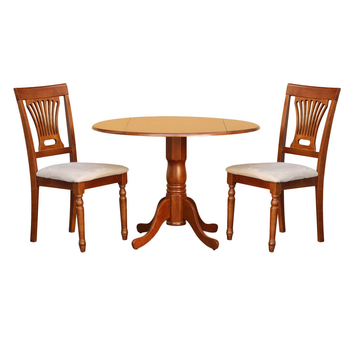 Saddle Brown Small Kitchen Table and 2 Chairs 3-piece Dining Set ...