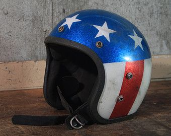 03113f352c3 Vintage - 1966 - American Flag Motocycle Helmet - Vintage Motorcycle  Accessory - Vintage Fashion - Evil Knievel - Easy Rider