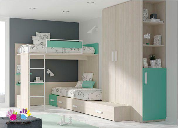 Dormitorio infantil con literas armario zapatero for Cama nido hipermueble