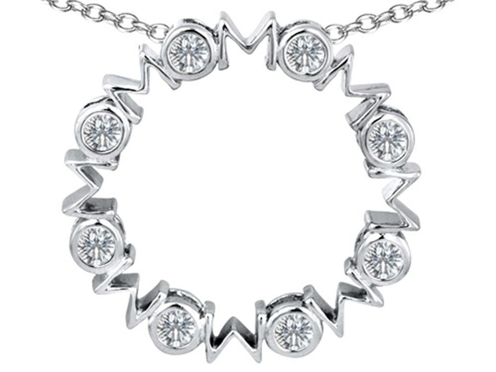 Star K Large MOM Circle Mother's Pendant Necklace with Round Genuine White Topaz