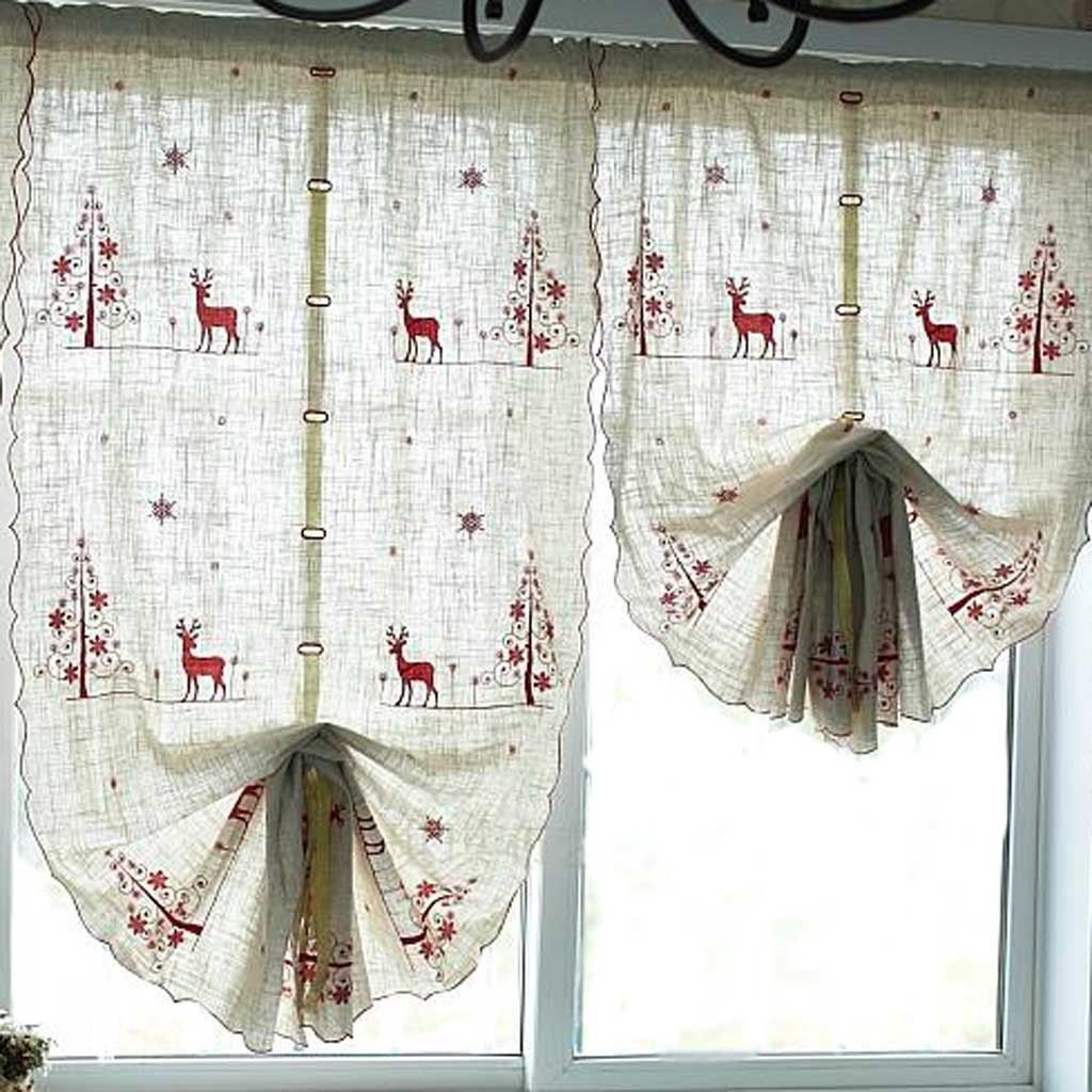 Reindeer Pull Up Curtain Curtains Cafe Curtains Curtains Bedroom
