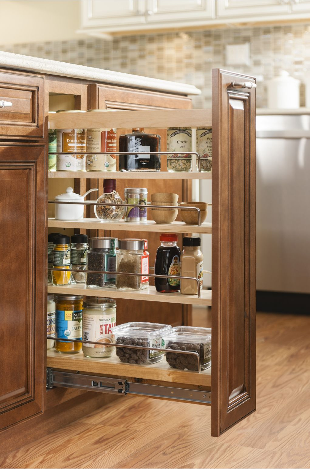 Base Pantry Pull Out Organization Design By Allen Roth Kitchen Renovation Storage Design