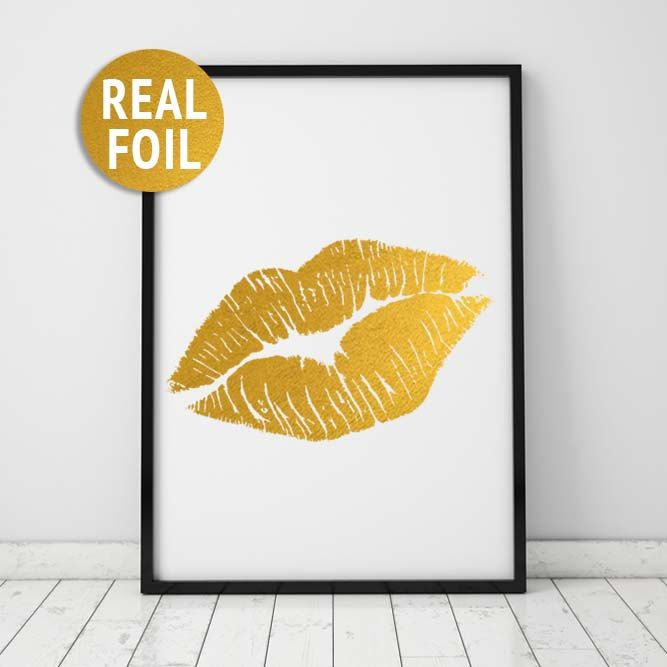 Real Foil Lips Print, Gold Kiss Print, Fashion Art Print, Vanity ...