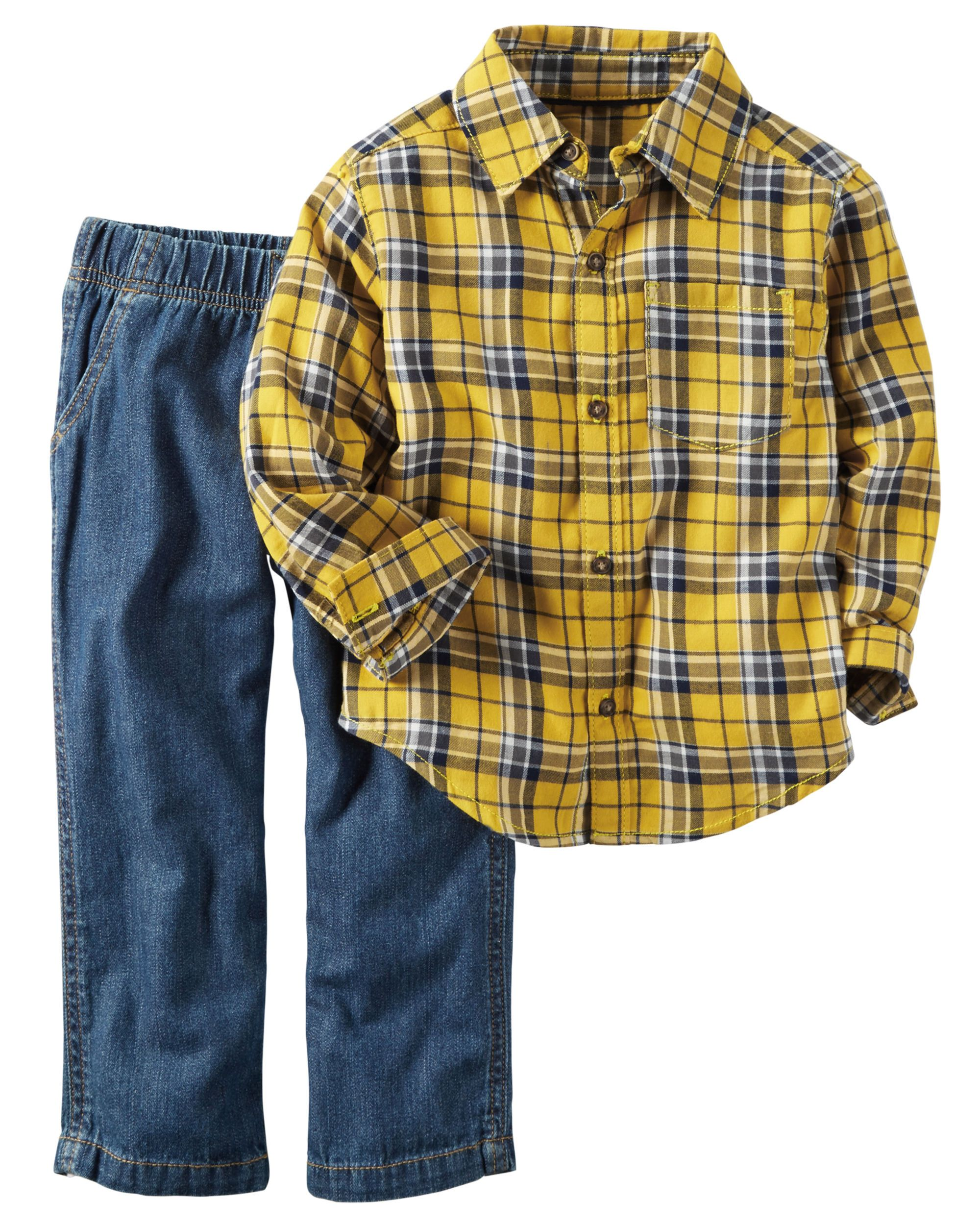 46c2e2cb763 Complete with classic denim and a flannel button-front