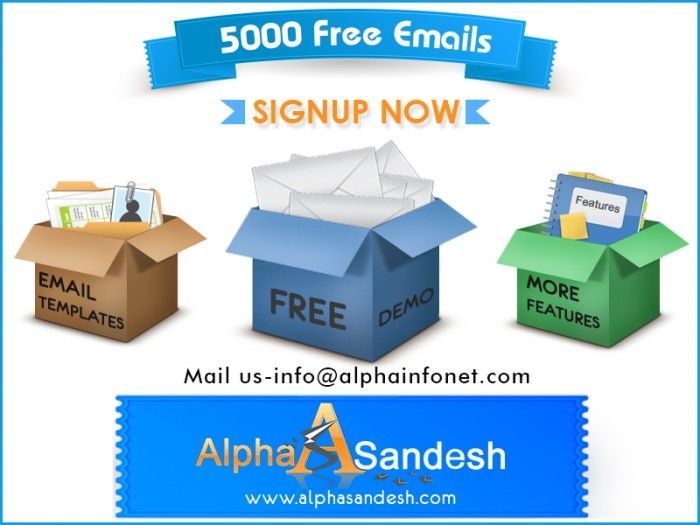 Alphasandesh one of the leading mass email marketing company from India is now offering 5000 e-mails on its trial. Alphasandesh provides an easy-to-use, cost-effective dedicated bulk email server designed to help business. They offer versatile bulk e-mail