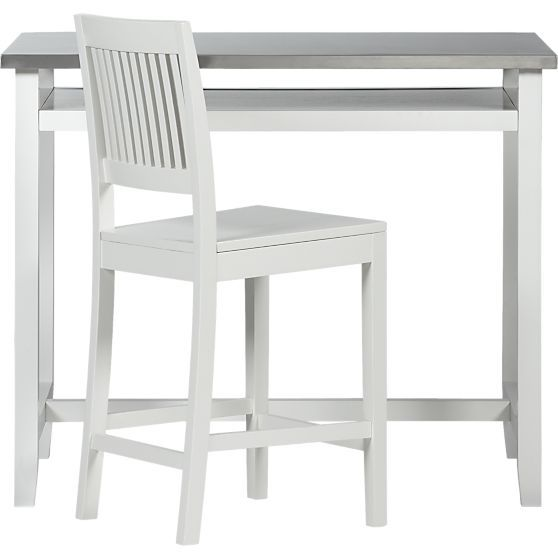 Belmont White Work Table With Stainless Steel Top In Dining Tables Crate And Barrel Kitchen Work Tables Dining Table In Kitchen Dining Table