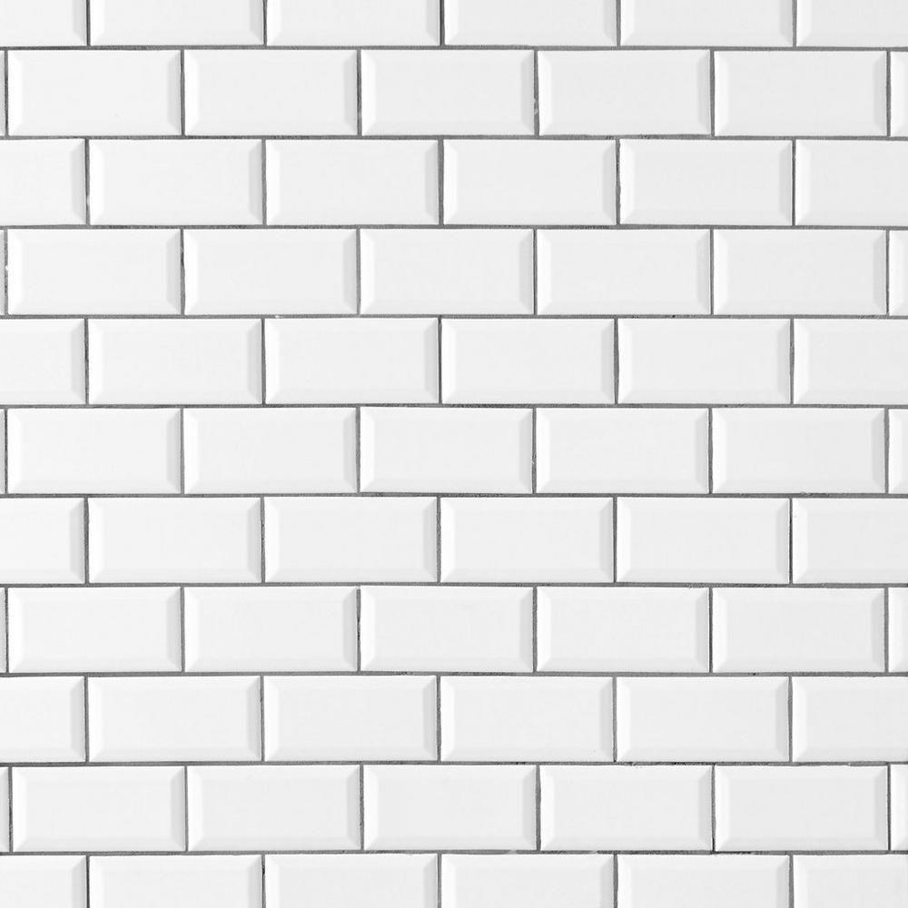 bright white ice beveled ceramic wall