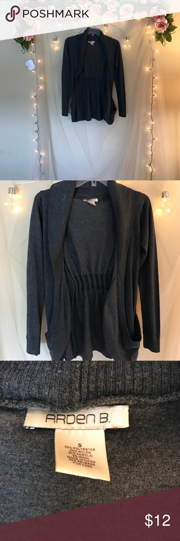 Arden B Gray Sweater Size S Arden B Gray Sweater Size S. Good condition scoop pockets. Arden B Sweaters