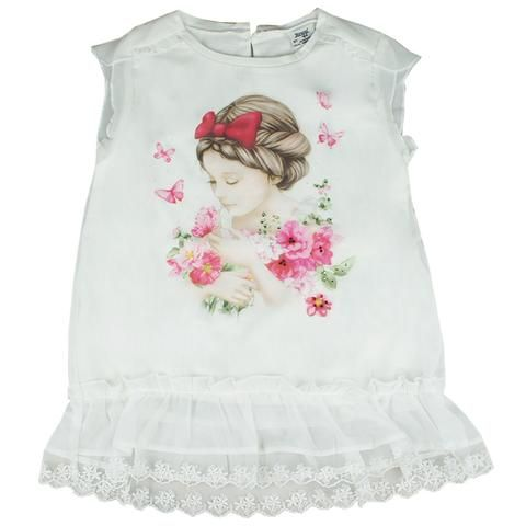 Honey & Clover Kidswear / Children's Apparel | Cream Girl & Butterfly Top (Red) by Mayoral
