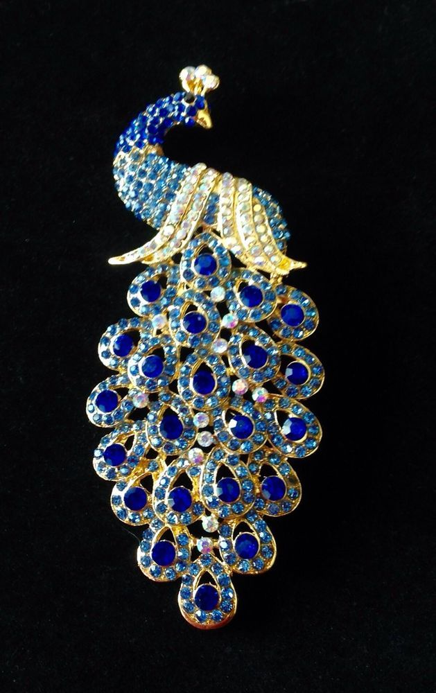 7f84aeaf09a Vintage Antique Gold Blue Topaz Rhinestone Crystal Peacock Fashion Brooch/ Pin