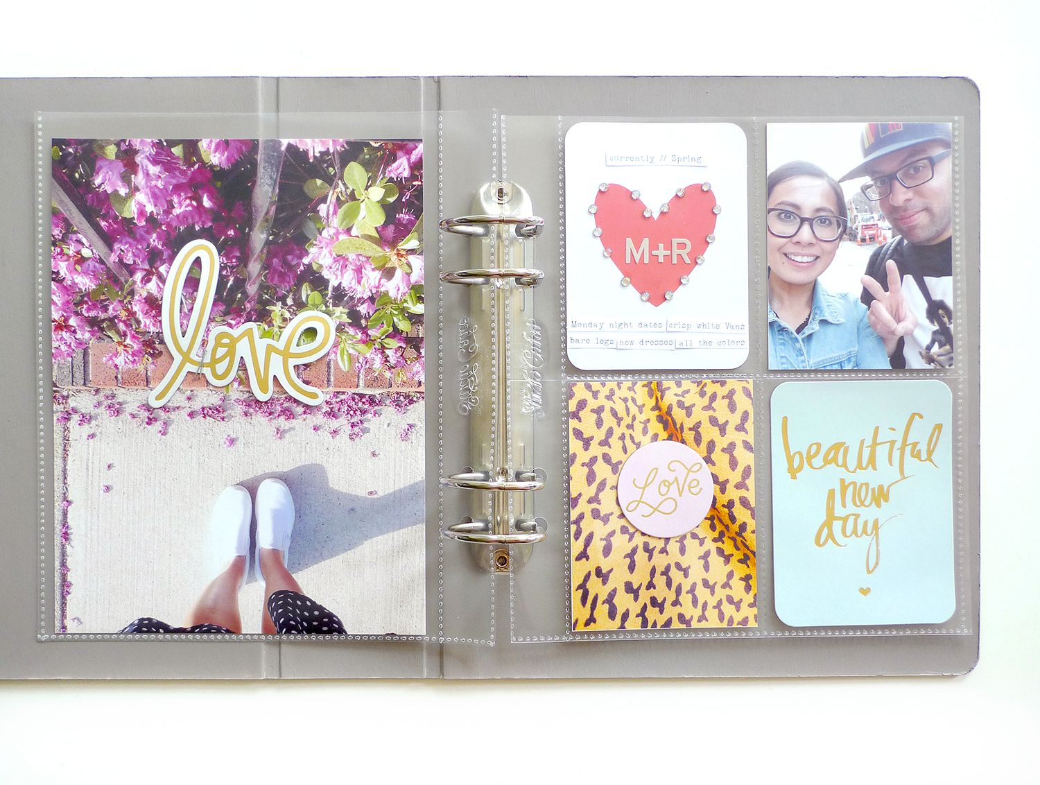Pages by Maria Lacuesta featuring the Desktop Edition, Desktop Edition Chipboard Stickers, Gold Foil Value Kit, and Grey Alpha Stickers. -