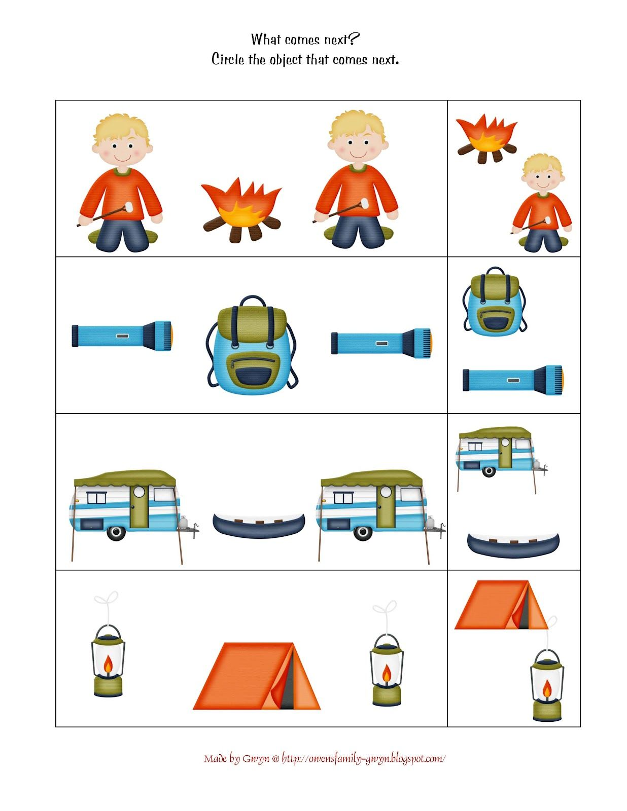 Sequence (With images) | Camping preschool, Camping theme ...