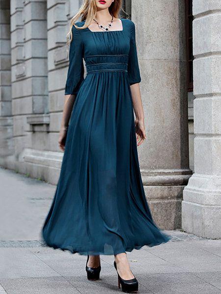 8e416269a0 Shop Maxi Dresses - Half Sleeve Square Neck Chiffon Simple Paneled Maxi  Dress online. Discover unique designers fashion at StyleWe.com.
