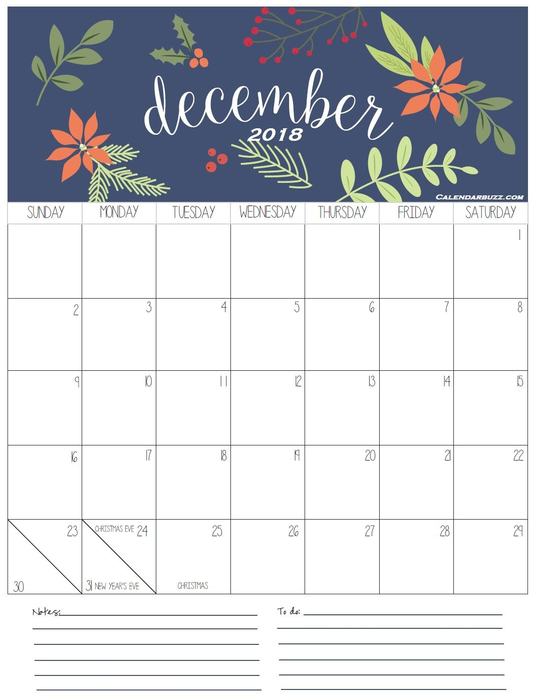 Printable Calendar December 2019 With Holidays And Cute Free Printable December 2018 Calendar | Calendars | December calendar, 2018