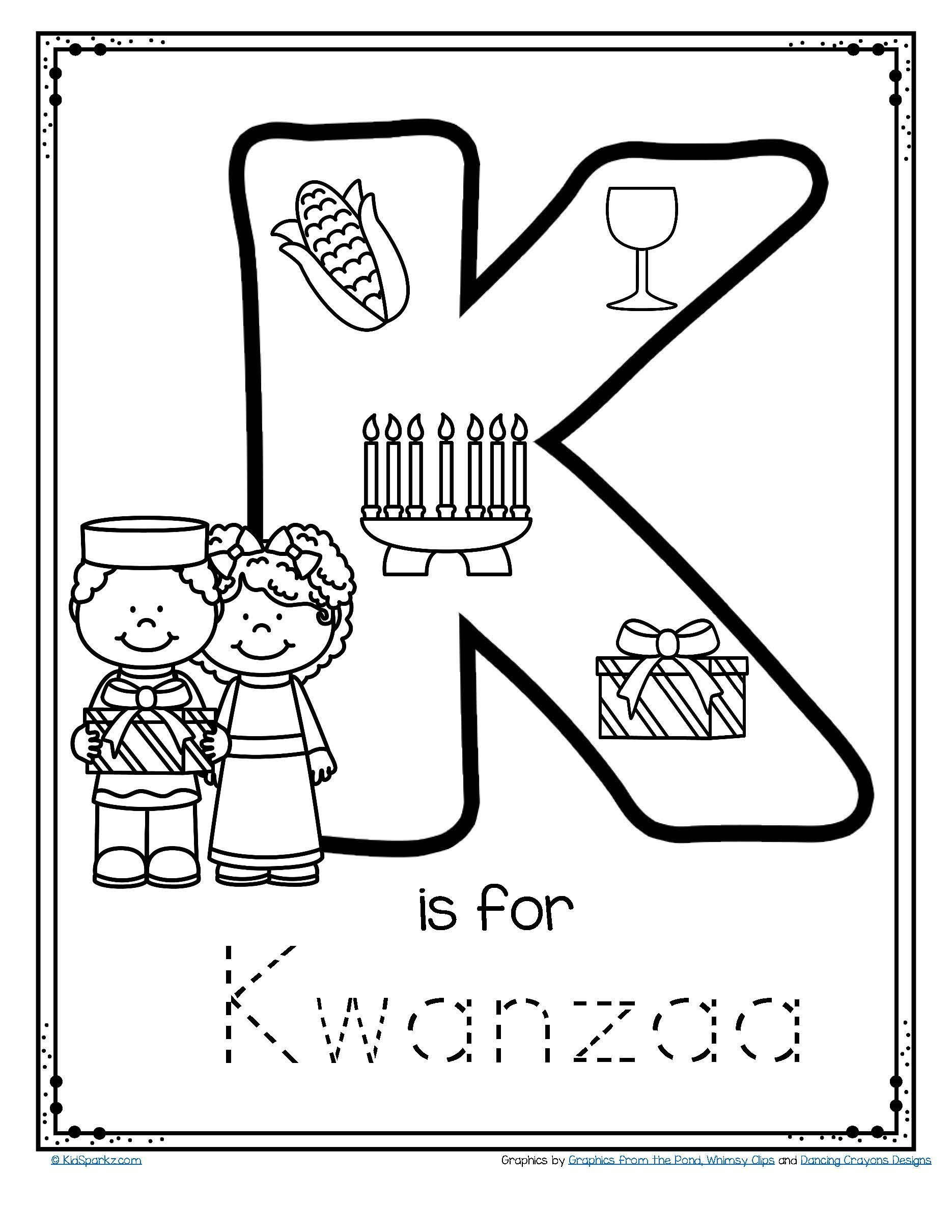 Letter K Is For Kwanzaa Trace And Color Printable Free In