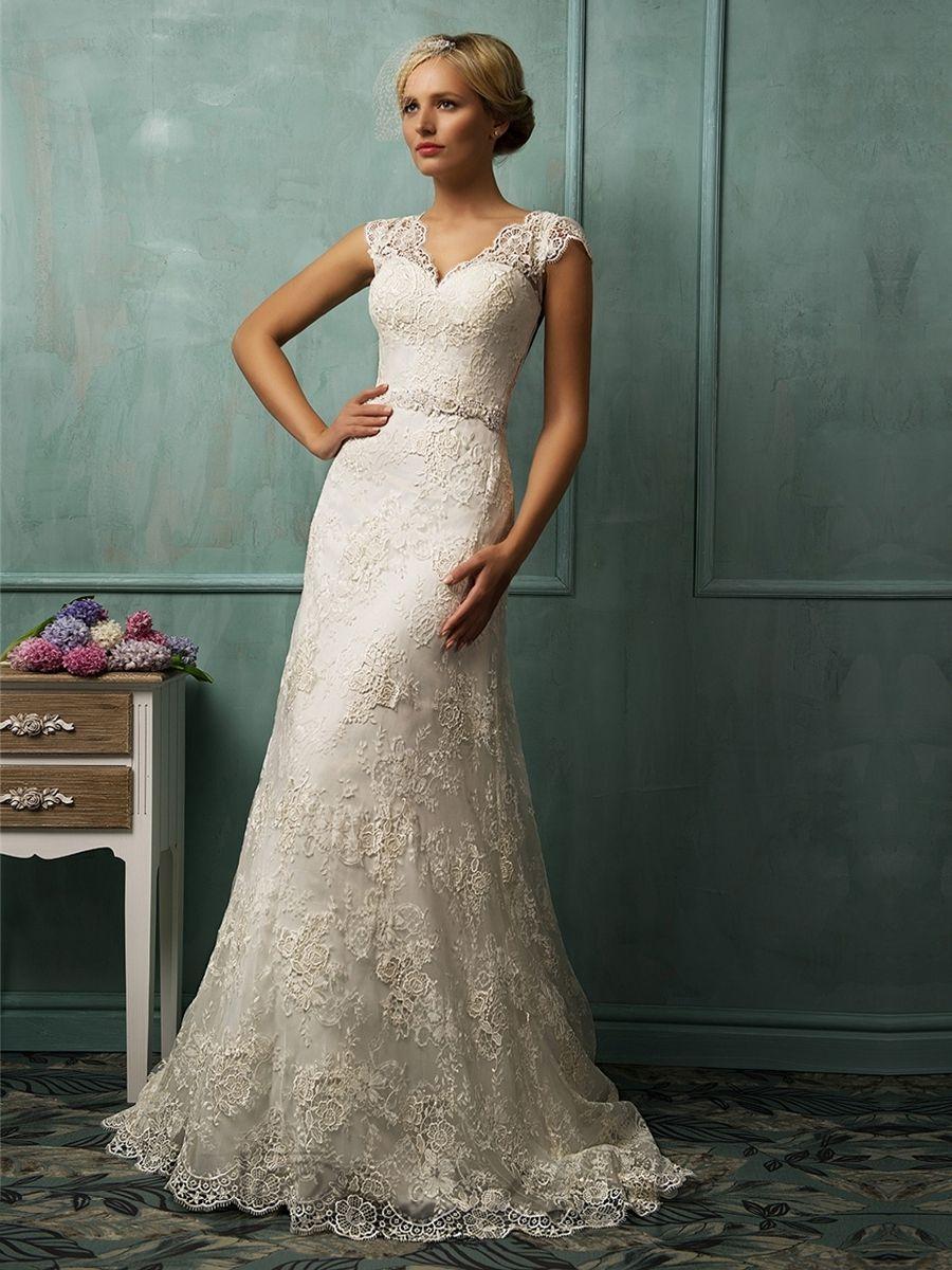 Cap sleeves vneckline lace wedding dresses fit and flare mermaid