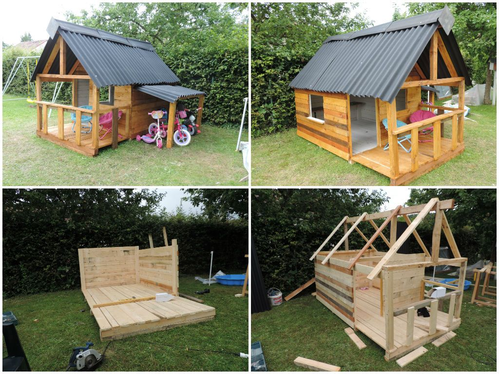 maison de jardin pour enfant pallets kids house pallet kids pallets and play houses. Black Bedroom Furniture Sets. Home Design Ideas
