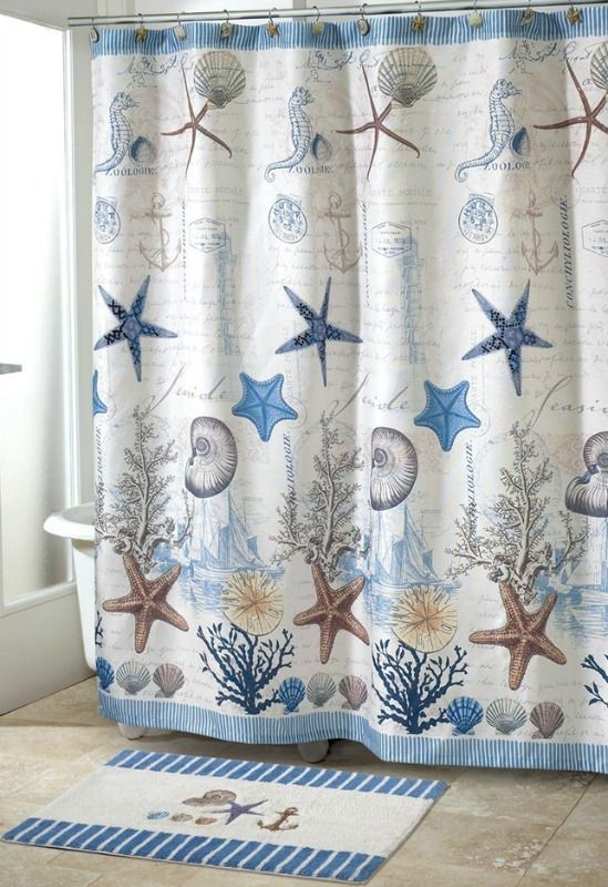 Coastal Decor Shower Curtain And Rug Beach Theme Shower Curtain