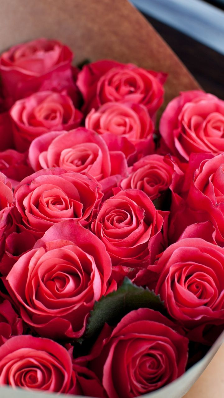 Red Roses Bouquet Fresh Flowers 720x1280 Wallpaper バラ 花