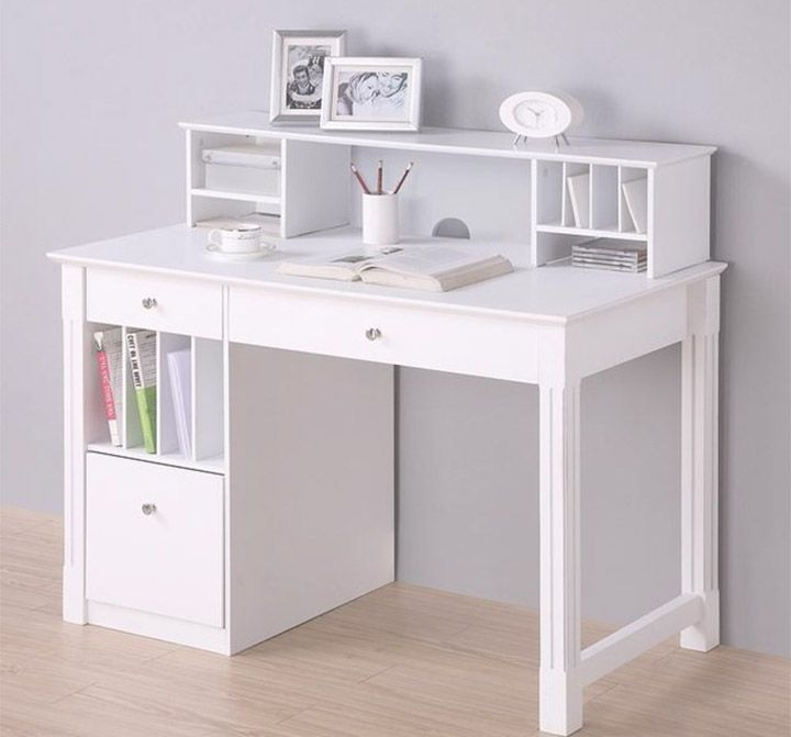 Small White Computer Desk Wall Decor And Art Escritorio Para Habitacion Muebles Para Adolescente Escritorio De Chicos