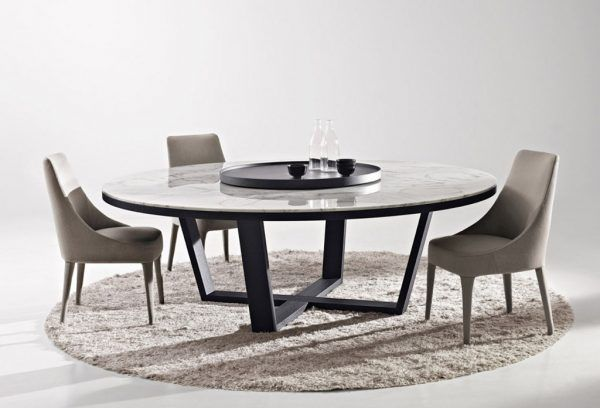 Image Of Large Round Dining Tables With White Granite Table Top