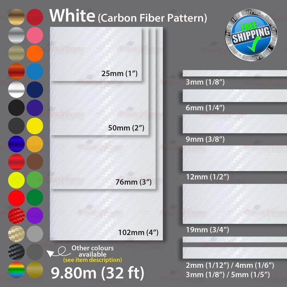 2mm 100mm Pinstriping Pin Stripe Tape Car Decal Vinyl Sticker Carbon Fiber White Unbrandedgeneric Car Decals Car Decals Vinyl Vinyl Sticker