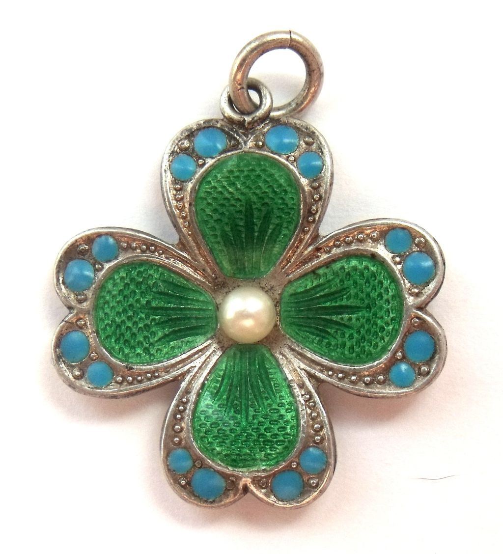 Green lucky shamrock necklace four leaf clover charm emerald green - Antique German 800 Silver And Enamel Four Leaf Clover Lucky Charm