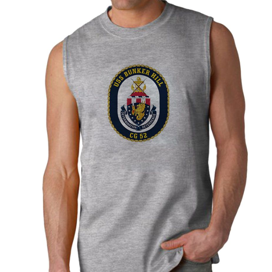 USS Bunker Hill Sleeveless Shirt now available! The Navy Service is a 100% Polyester Gildan sleeveless shirt will keep you cool and dry all year long. Let your biceps breathe and show your military pride at the same time! Designed & Sublimated in the USA.