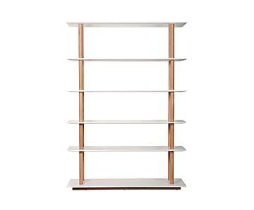 Bibliothèque HIGH ON WOOD, naturel et blanc - L169