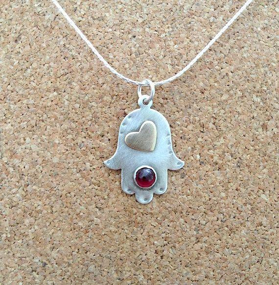 Hamsa with Heart , Hamsa Pendant ,  Sterling silver , Gold Filled heart , Garnet stone , Hand made , Hand Of Fatima , Judaica