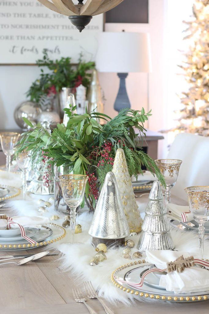 Festive Holiday Tablescape with silver glass Christmas