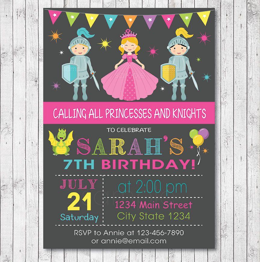 Printable or Printed Dragon Birthday Party Invitation Knight Birthday Invitation Royal Birthday Party Princess Invitation