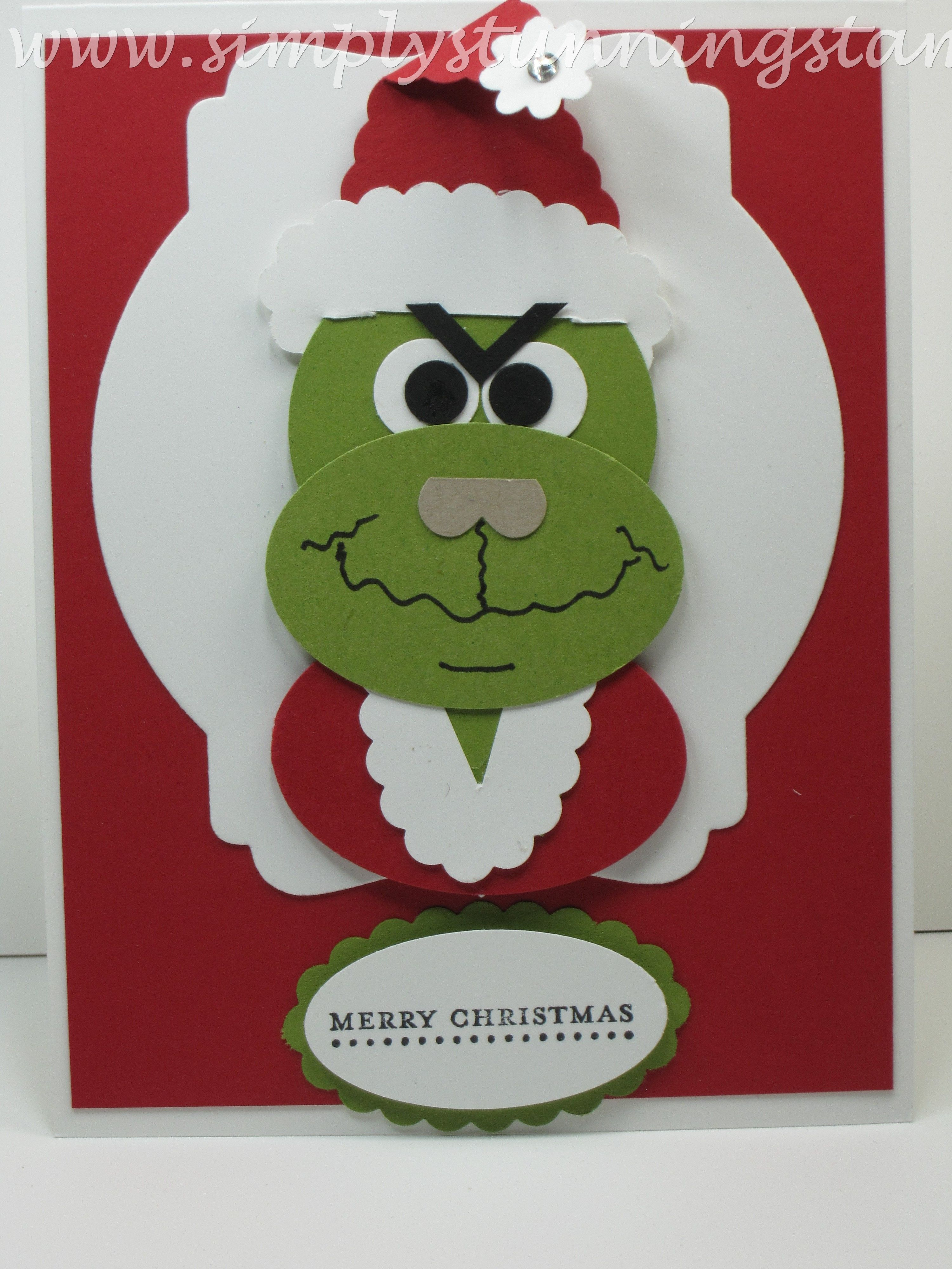 Stampin Up The Grinch Punch Art Grinch Punch Grinch Christmas Cards Christmas Cards