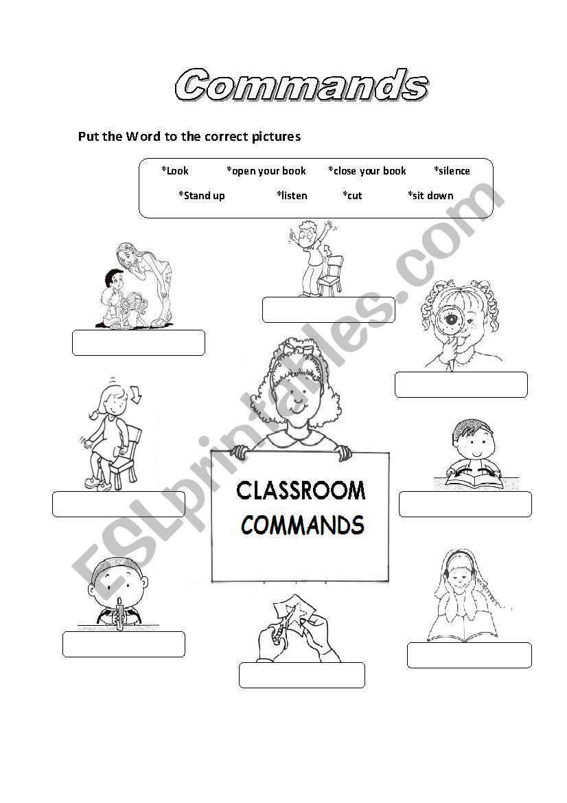 Commands Worksheet Classroom Commands English Worksheets For Kids Kindergarten Worksheets [ 1169 x 826 Pixel ]