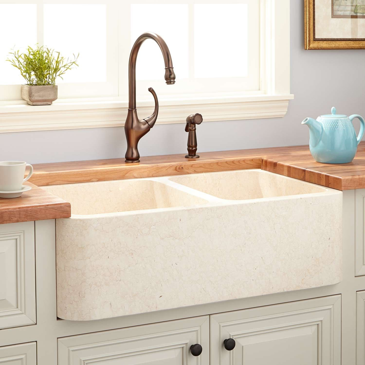 36 Polished Marble 60 40 Offset Double Bowl Farmhouse Sink