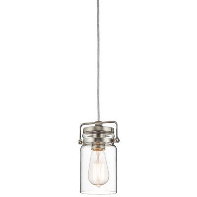 Kichler lighting brinley mini pendant brushed nickel finish with clear glass shade